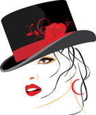 Portrait of beautiful woman in a elegant hat with red rose