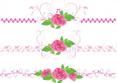 Pink roses with ornament. Three decorative borders