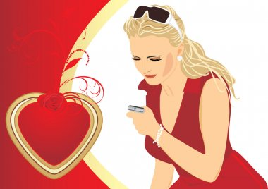Beautiful woman with a mobile telephone. Composition to the Valentines day. Vector illustration stock vector