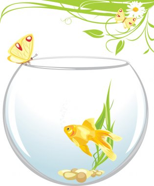 Goldfish and butterfly sitting on an aquarium. Spring composition