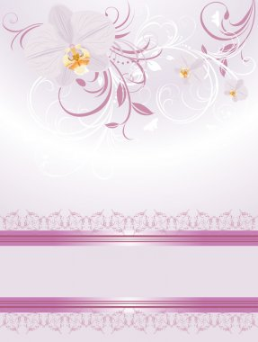 Orchids with decorative sprigs. Festive card