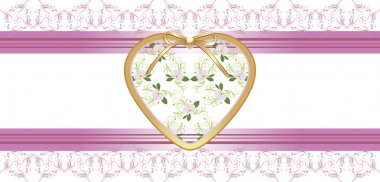 Heart with orchids on the floral borders