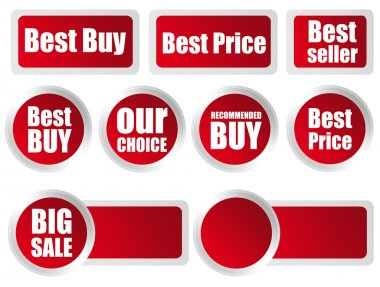 Several red labels with different commercial information inside stock vector