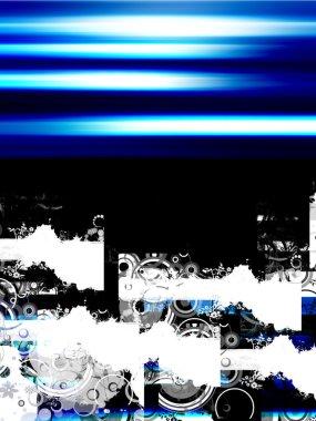 Blue illustration with sample tetxt on black background stock vector