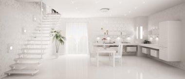 Interior design of modern kitchen panorama 3d render