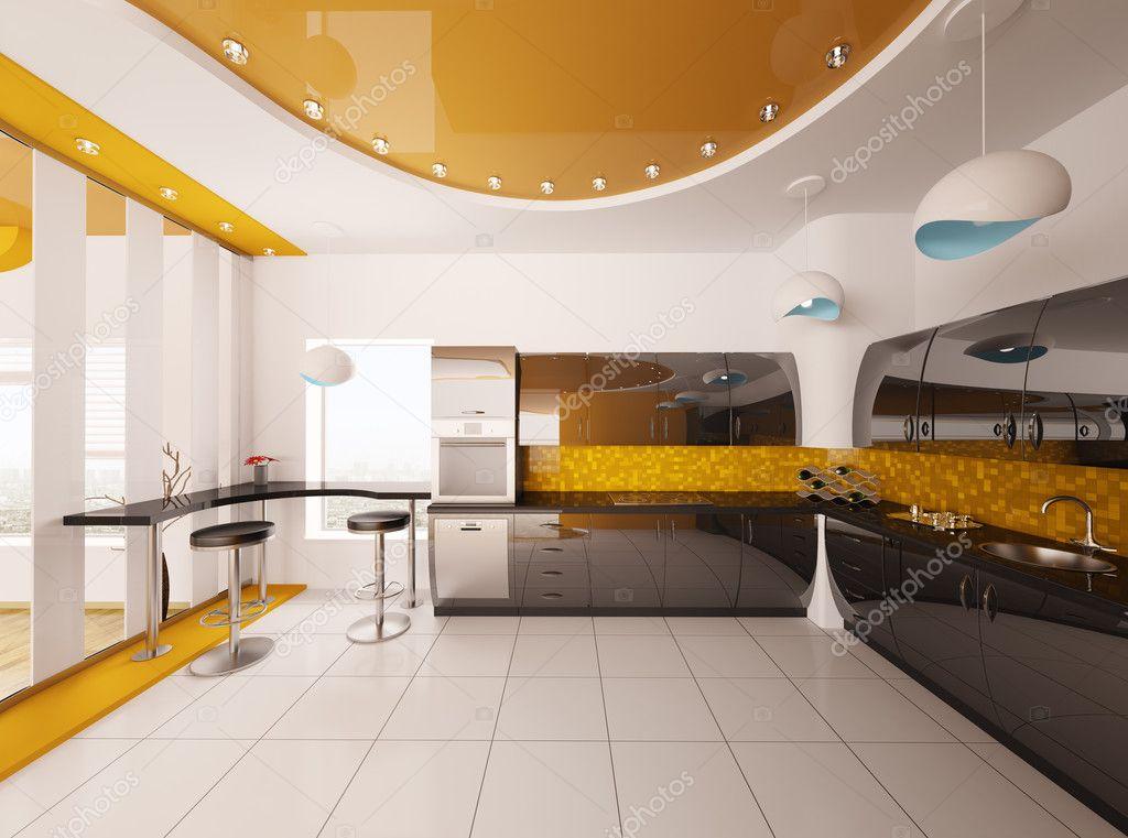 현대 부엌 3d 렌더링의 인테리어 디자인 — 스톡 사진 © scovad #5393349