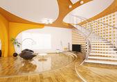 moderní interiér obývacího pokoje 3d Render