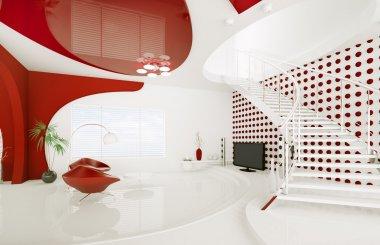 Modern interior design of living room 3d render