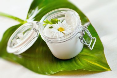 Skin cream and beauty flower