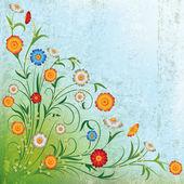 Abstraktní grunge ilustrace s květinami