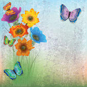 Photo abstract background with butterflies and flowers