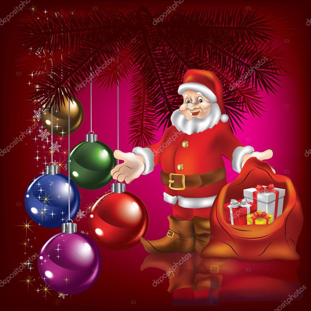 weihnachten gruß mit santa claus — Stockvektor © lembit #6316297