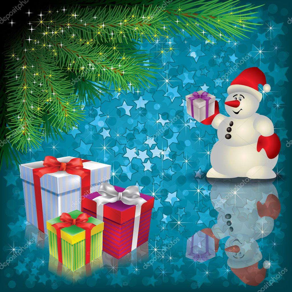Weihnachten Begrüßung mit Schneemann und Geschenke — Stockvektor ...