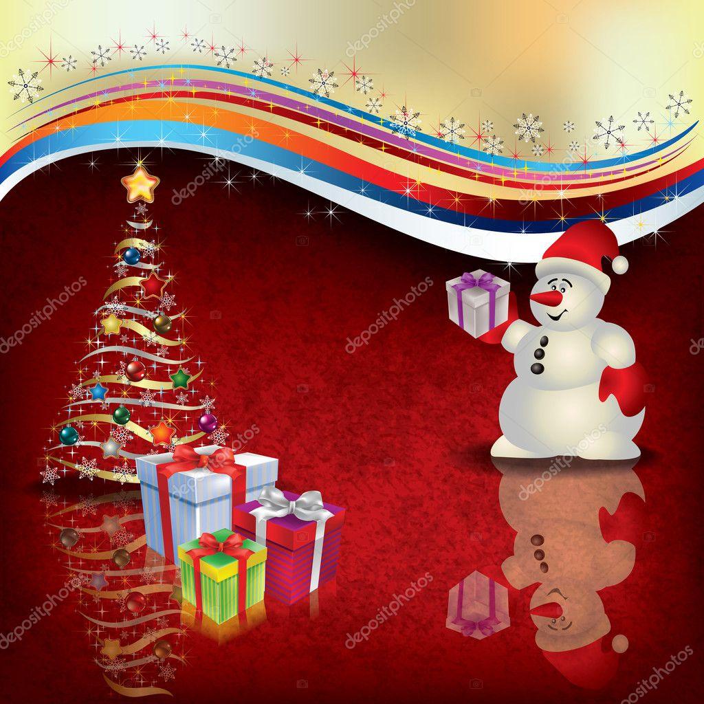 Weihnachten Begrüßung mit Schneemann-Geschenke und Baum ...