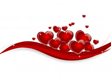 Abstract background with red hearts clip art vector