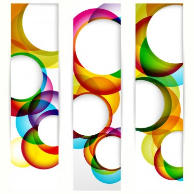 Abstract vertical banner with forms of empty frames.