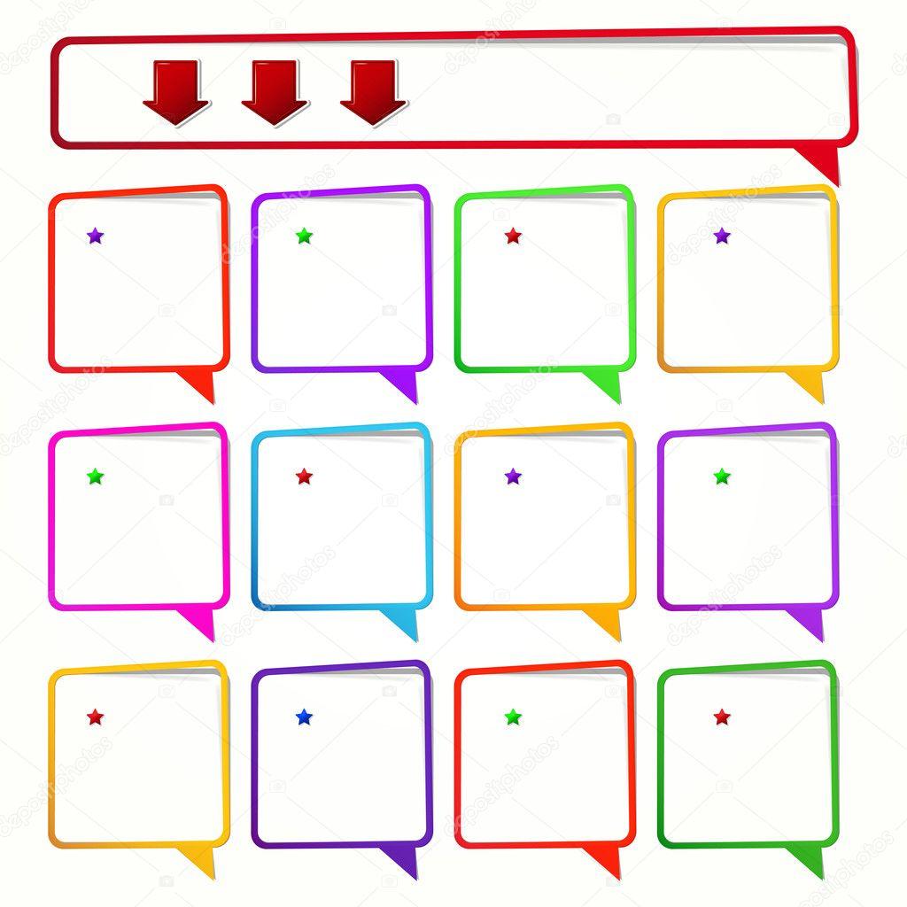 lange und 12 quadratische Aufkleber in Form von einen leeren Rahmen ...