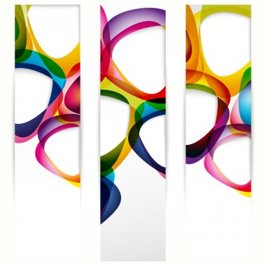 Abstract vertical banner with forms of empty frames