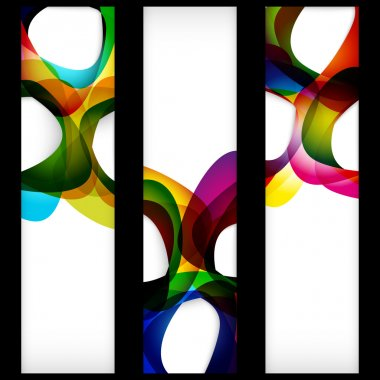 Abstract banner with forms of empty frames for your web design.