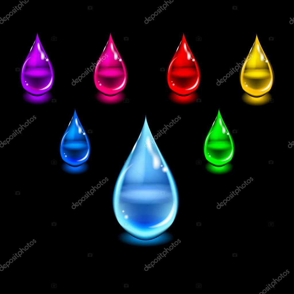 Glossy color drops. Vector illustration.