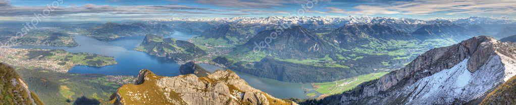 Long mountain panorama of Lake Lucerne, Switzerland
