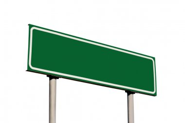 Blank Green Road Sign, Isolated empty roadside signage