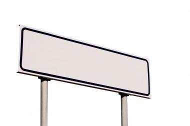 Blank White Road Sign, isolated roadside signage