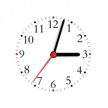 Analogue clock face dial in black red at 3:03 isolated