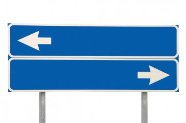 Crossroads Road Sign Two Arrow, Blue Isolated Roadside Signboard