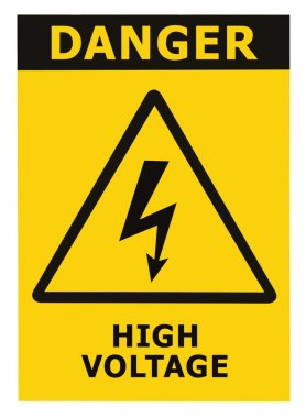 Danger High Voltage Sign With Text Isolated Yellow Badge