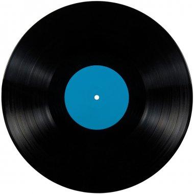 Black vinyl lp album record disc isolated long play disk label cyan blue