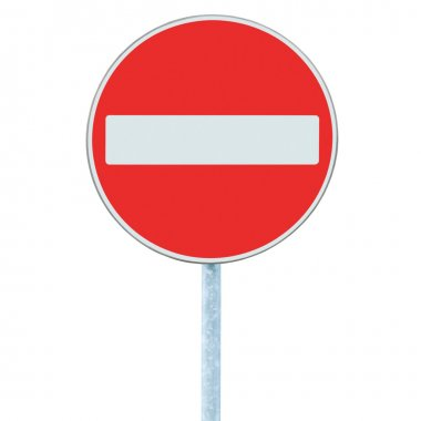 No Entry Sign, road traffic warning pole, isolated