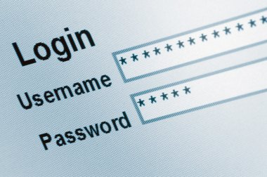 Login Screen Macro Capture Closeup, Medium Blue Website, ecommerce e access online user web page password username