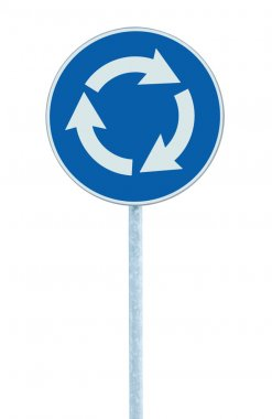 Roundabout crossroad road traffic sign isolated blue white arrows
