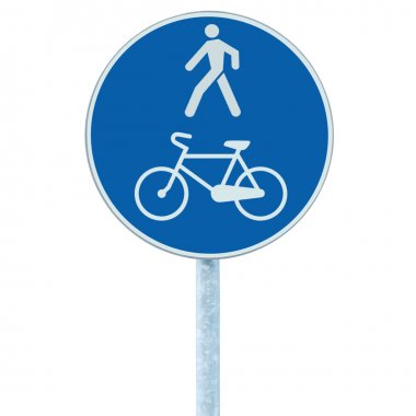 Bicycle and pedestrian lane road sign on pole post, blue