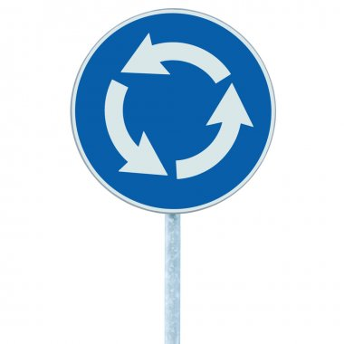 Roundabout crossroad road traffic sign isolated, blue, white arrows
