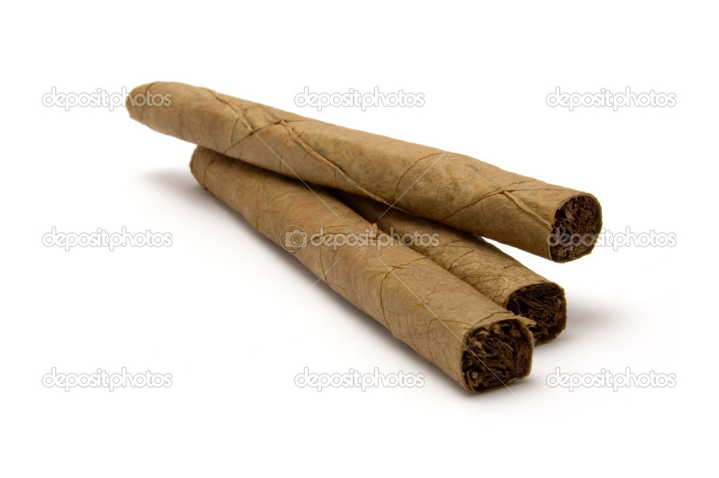 Three cigar stack macro closeup isolated cuban cigars and shadow
