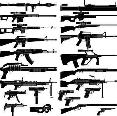 Layered vector illustration of various weapons. stock vector
