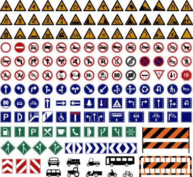 Vector illustration of hundreds Traffic Sign collections. stock vector
