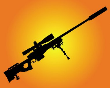 Silhouette of a sniper rifle on an orange background stock vector