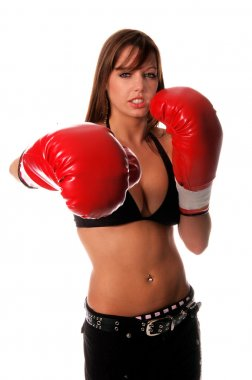 Sexy redheaded in bikini top and boxing gloves ready to go a few rounds for your company isolated over white stock vector