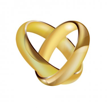 A pair of intertwined ladies and mens wedding rings