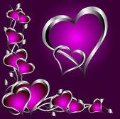 Egy lila szívek háttér Valentin-nap