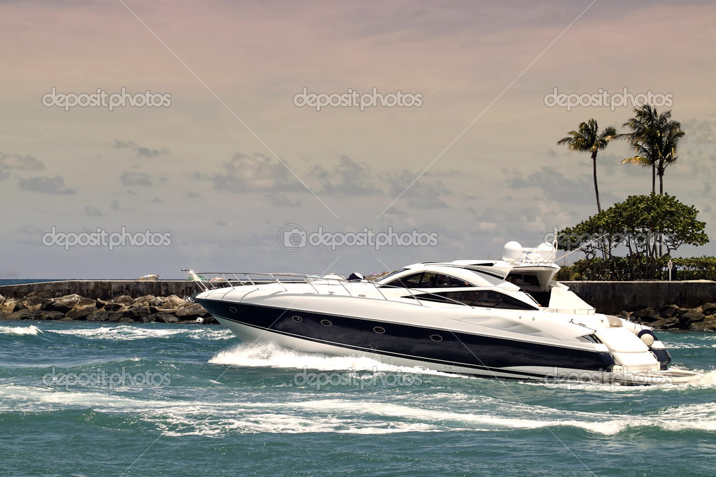Yacht in inlet