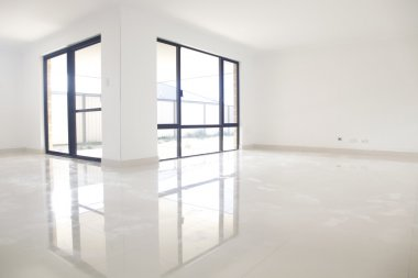 White interior, reflection