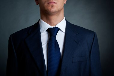 Closeup shot of business suit on a man