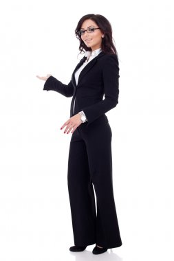 Business woman making a welcoming or presenting gesture