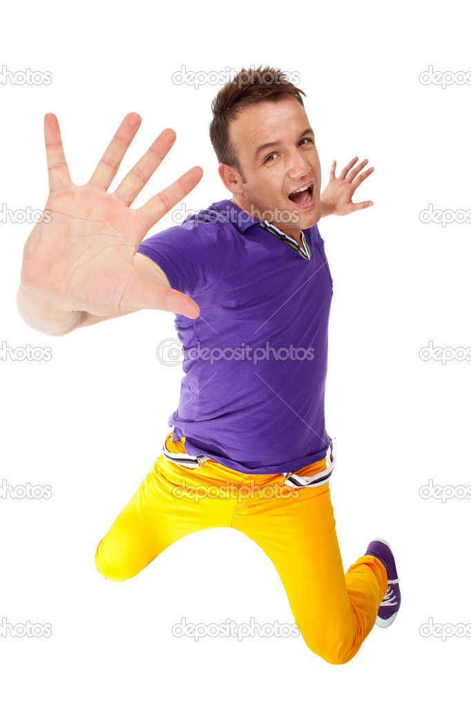 Hip hop breakdancer making a stop gesture, isolated on white
