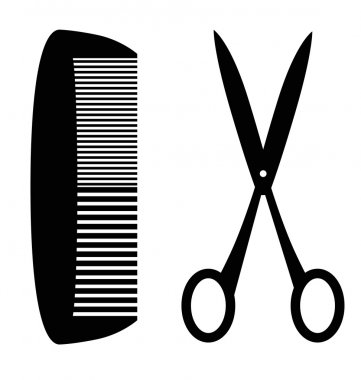 Black silhouette of comb and scissors; white studio background.