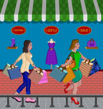 Illustration of two woman shopping for sales on clothing and accessories.